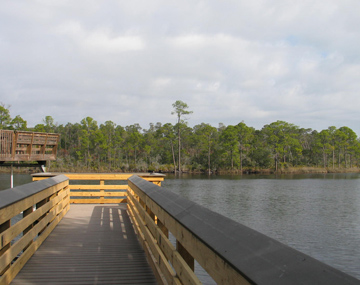 Reconstructed fishing pier reopens on lake powell walton for Lake powell florida fishing