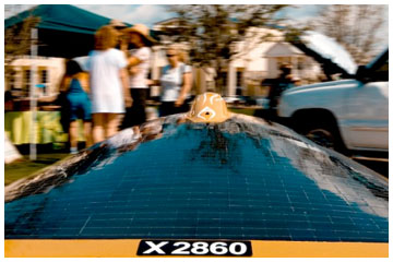 Solar car draws crowd at Seaside May 9. Photo courtesy www.emmarcusphotography.com
