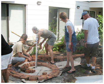Beginning of the brick laying for spiral.
