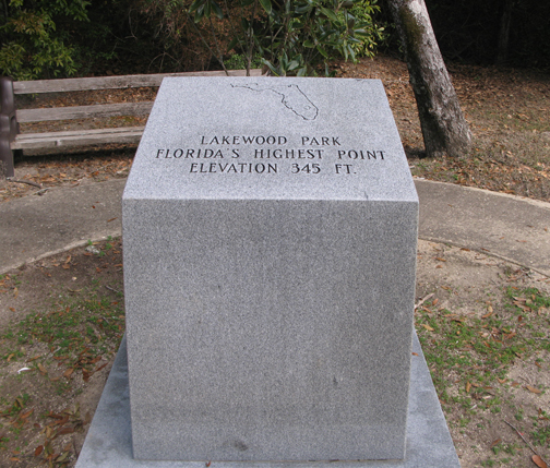 A granite monument depicts Florida's highest point at Lakewood Park. Lori Ceier/Walton Outdoors