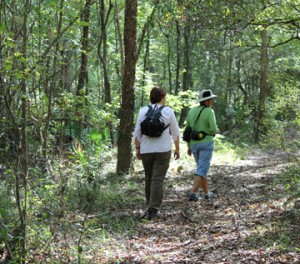 Locals Susan Petro and Joan Vienot enjoy a hike along the Bruce Creek trail. Lori Ceier/Walton Outdoors