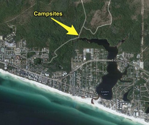 Aerial location of campsites.