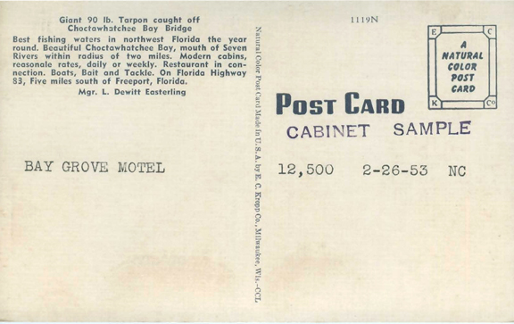 Back of the postcard mentions 90 lb. tarpon caught off the Choctawhatchee Bay bridge. Photo courtesy Patrick Pilcher
