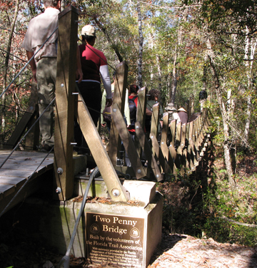 Two Penny suspension bridge crosses the creek on the trail. Lori Ceier/Walton Outdoors