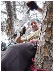 Billy Johnson up a tree. Photo courtesy Brandan Babineaux