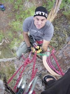 Brandan Babineaux climbs a tree at Bowman Bayou. Photo courtesy BIlly Johnson