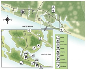Grayton Beach State Park map. Illustration courtesy DEP. Click to enlarge.