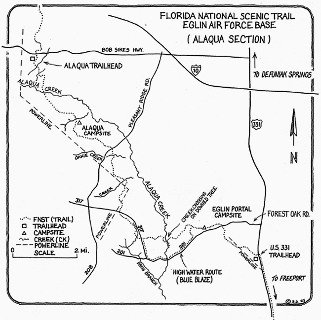 Alaqua section of Eglin Trail East. Illustration courtesy Florida Trail. Click to enlarge