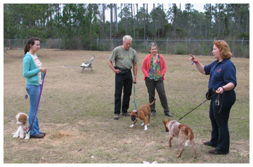 Pictured left to right Marilyn Clark with Mocha, Will Palmer and Pat Carlyle with MoJo and Catherine Zehner, dog trainer with her Red Heeler.