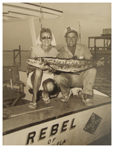 Gene Wesley and guest aboard Wesley's charter The Rebel.