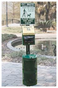 One of the varieties of pet waste stations available.