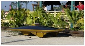Solar powered car makes a stop at Senor Mojitos on U.S. Hwy. 331 in Santa Rosa Beach.