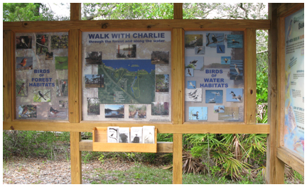Informative kiosk educates park goers on birds that can be spotted at park.
