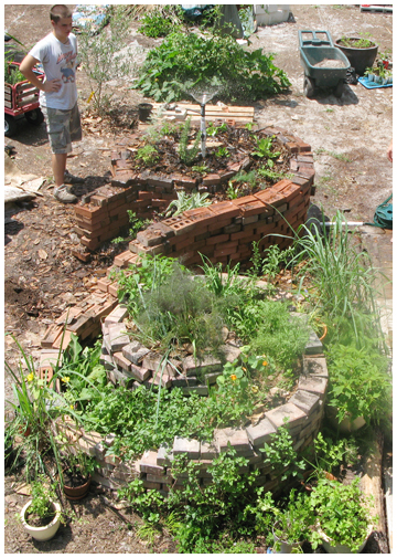 Susan and Peter Horn's double spiral compost garden,