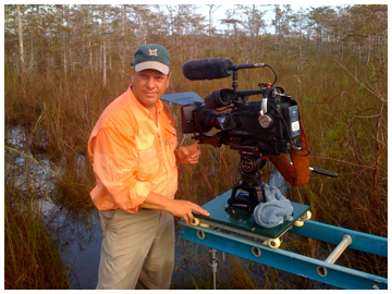 Filmaker Elam Stoltzfus on location in the Big Cypress Swamp.
