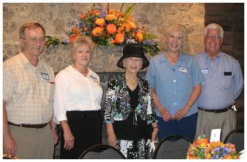Margret Savage, center, is the daughter of the original owners of the 185 acres which is now Camp Helen State Park. Margret came for a visit on Oct. 9 to join the Friends of Camp Helen for a luncheon along with her relatives Jerry Evans, Nancy Stroud, Richard and Evelyn Cawthorn.