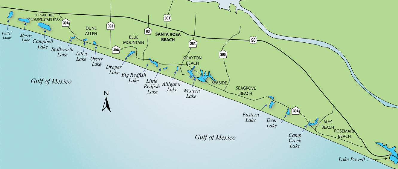 Fish Hike Paddle And Enjoy Birding On The Coastal Dune Lakes Of - Map of florida lakes