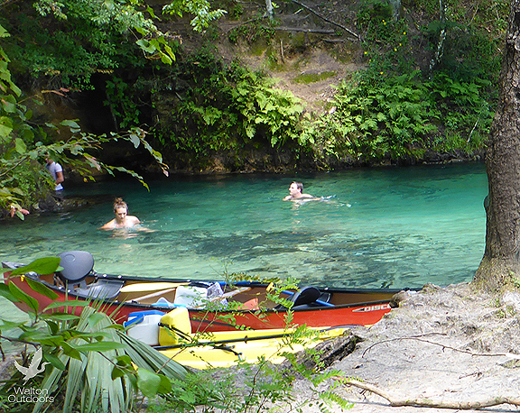 Kayakers cool off at a spring along Econfina Creek. Lori Ceier/Walton Outdoors