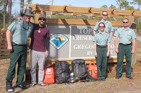 Topsail Hill Preserve State Park welcomed Expedition Florida 500. L-R: Park manager Jason Cutshaw, Justin Riney, Tammy Matthews, Fred Provost, Chris