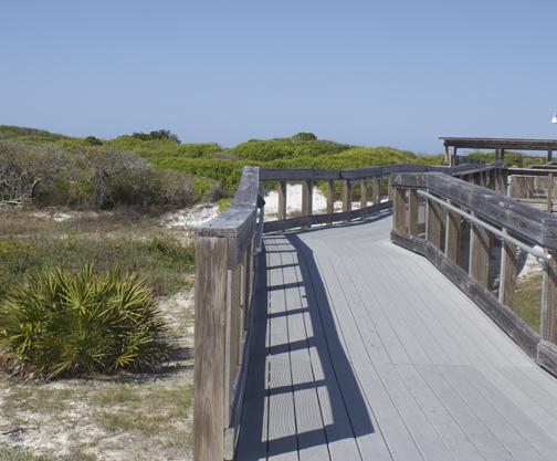 Wheelchair accessible boardwalks to the beach. Lori Ceier/Walton Outdoors