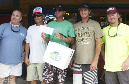 Team Inlet Magic are the champions of the Bream World Championships. The team is in town to also compete in the Blue Marlin Tournament at Sandestin. L-R: Tournament host Trey Nick, winners Dave Perry, Jeremy Miles, Neil Ashley, and tournament host Eddie Morgan.