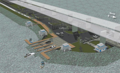 Proposed park will have parking, picnic areas, boat ramps, and restrooms. Image courtesy Skanska and Parsons Brinkerhoff