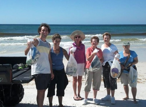 Volunteers pose after bringing in several pounds of trash off the beach at Topsail Hill Preserve State Park. Photos courtesy Fred Provost