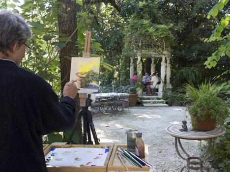 Artist Joan Vienot painting plein air at Grayt Grounds. Her work will be featured Nov. 2 - 17. Lori Ceier/Walton Outdoors