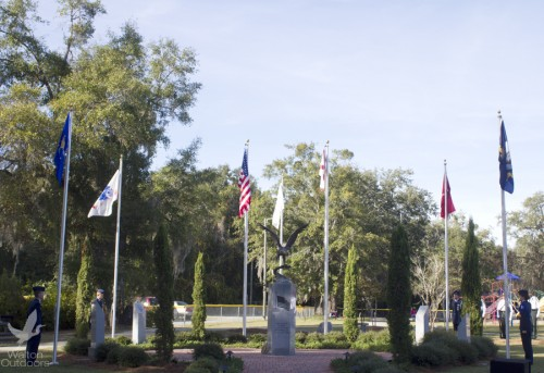 The military Branch Flags raised at Nov. 11, 2013 ceremony at the Freeport Veterans Memorial. Lori Ceier/Walton Outdoors