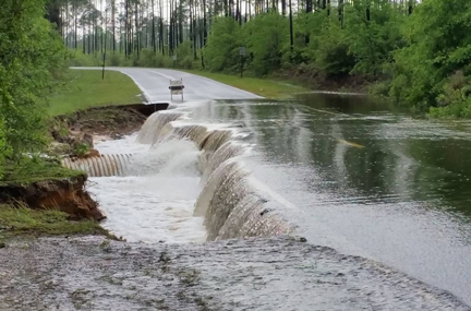 Roadway crumbles along CR3280 at Magnolia Lodge Road in Freeport. Photo courtesy Walton County Sheriff.