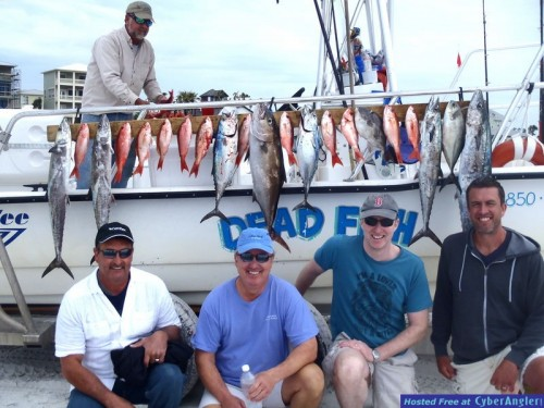 """These guys had a limit of Snapper, 4 Kings, a keeper AJ and had a fine cobia on. It was a """"group"""" trip. the 2 on the left are regulars and it was their trip, they met the other guys at a watering hole the afternoon prior after I had just called their trip off due to weather, got to talking and my seasoned anglers said """"come with us in the morning."""""""