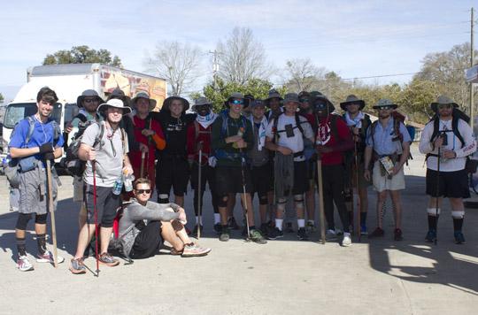 Alpha Tau Omega takes a break along their trek in Vernon. Lori Ceier/Walton Outdoors