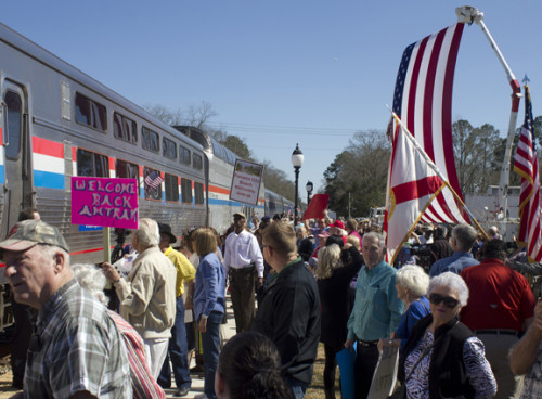 Hundreds of Amtrak fans cheered the arrival of Amtrak train. Lori Ceier/Walton Outdoors