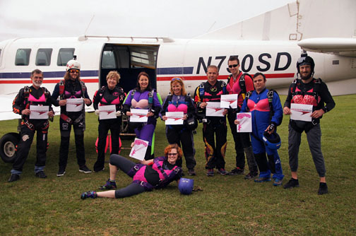 Most recently Skydive North Florida hosted a fundraiser, Jump For the Rose, with proceeds going to help fund the non-profit organization that provides support for uninsured or underinsured women in the process of receiving cancer treatment. Photo courtesy Marian Sparks.