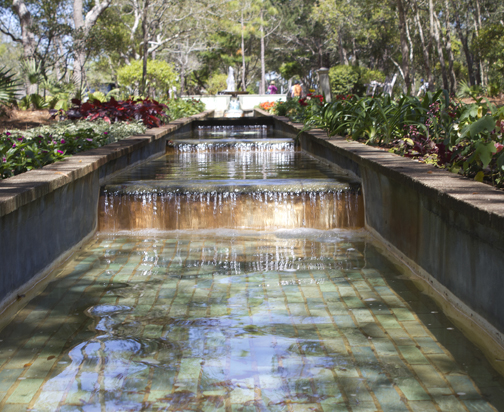 Enjoy beautiful flowers and water features at Cerulean Park at WaterColor. Lori Ceier/Walton Outdoors
