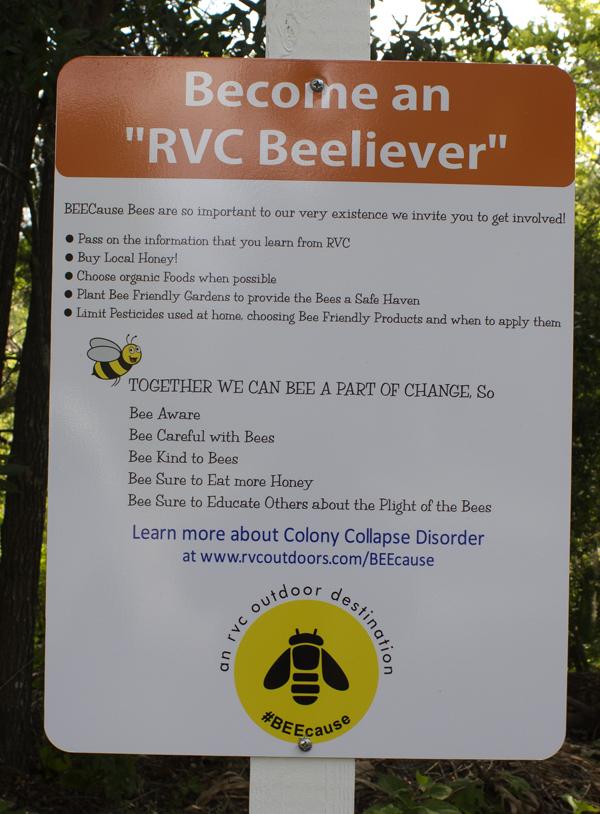 One of the educational interpretive signs at the Live Oak Landing beehive. Lori Ceier/Walton Outdoors