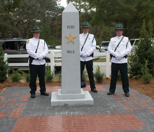Walton County Sheriff's Office Honor Guards at newly installed Hero Walk. Lori Ceier/Walton Outdoors